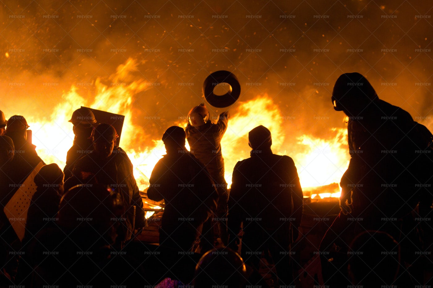 Protesters Set Fire To Barricades: Stock Photos
