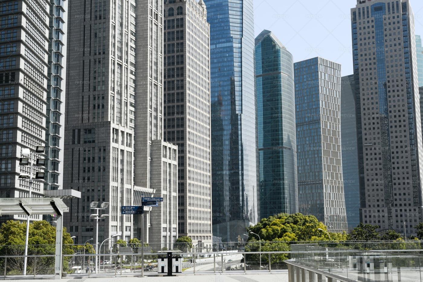 Modern Skyscrapers In Shanghai: Stock Photos