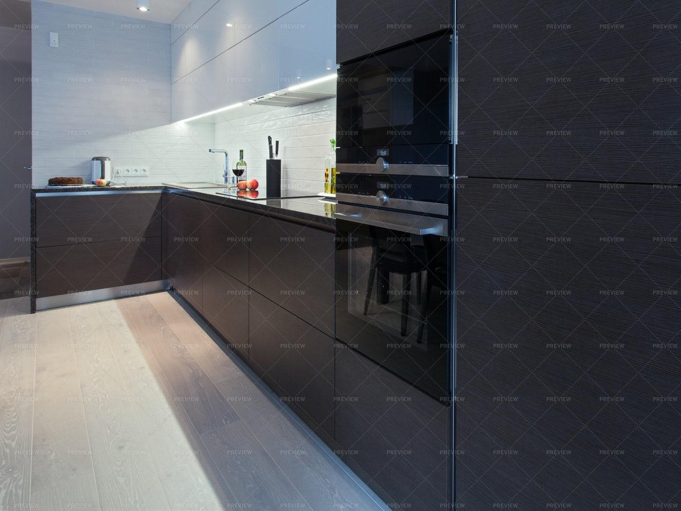 Dark Cabinets In Kitchen: Stock Photos