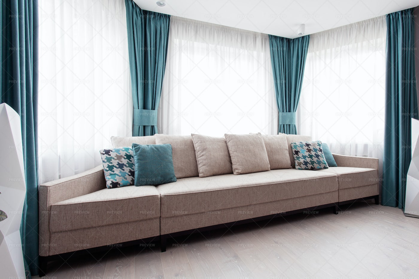 Large Modern Sofa In A Room: Stock Photos
