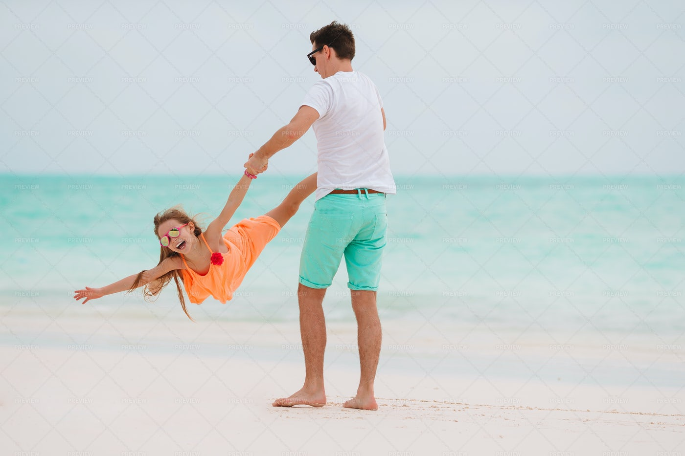 Happy Moment Of Father And Daughter: Stock Photos
