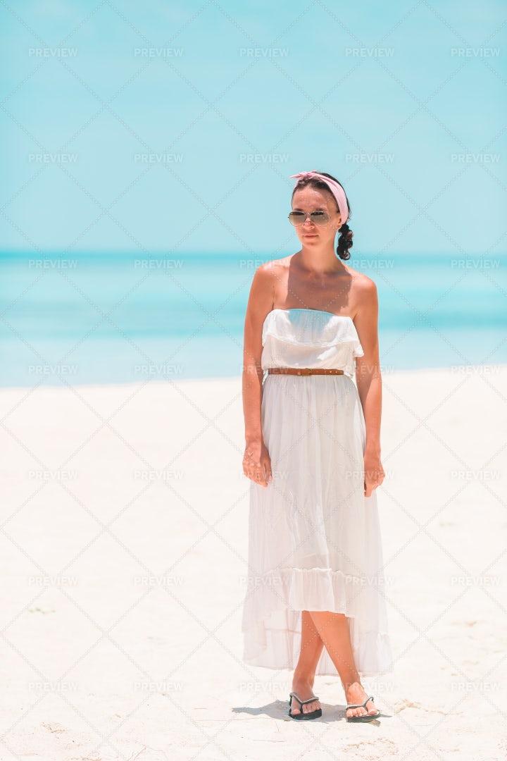 Woman In White Sundress: Stock Photos