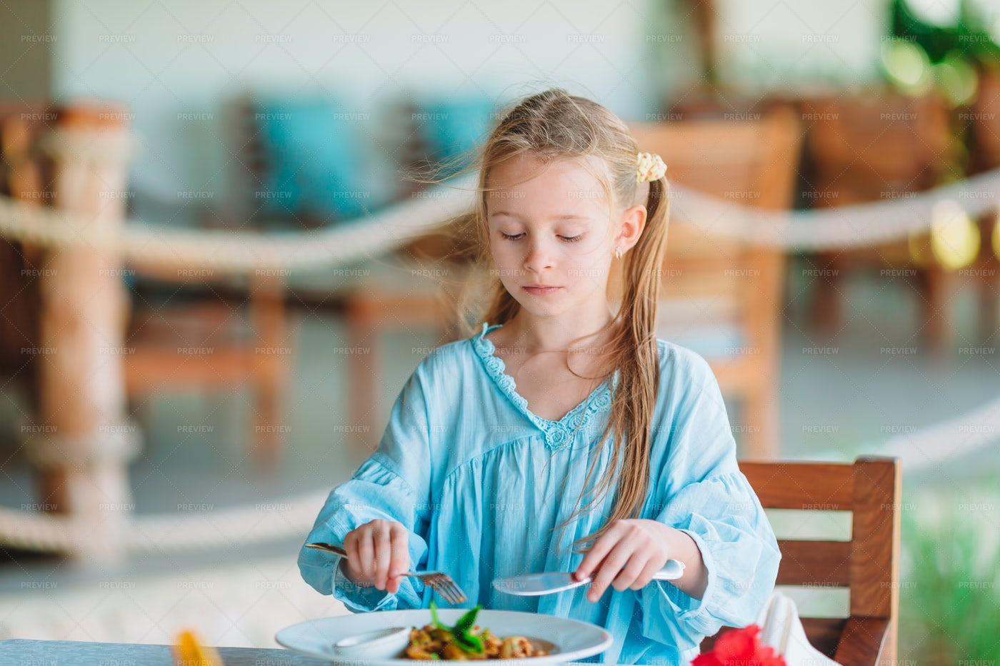 Eating On Outdoor Patio: Stock Photos