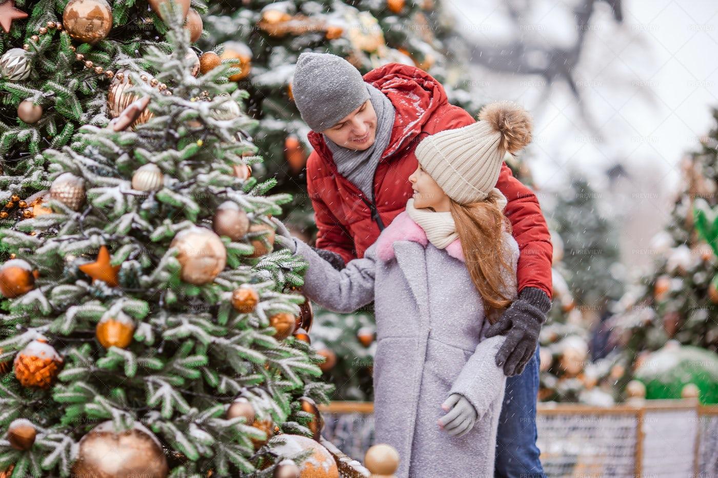 Family Admiring Christmas Trees: Stock Photos