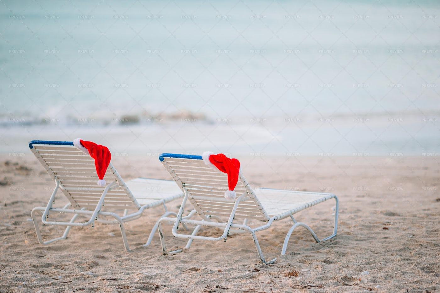 Santa Hats On Lounge Chairs: Stock Photos