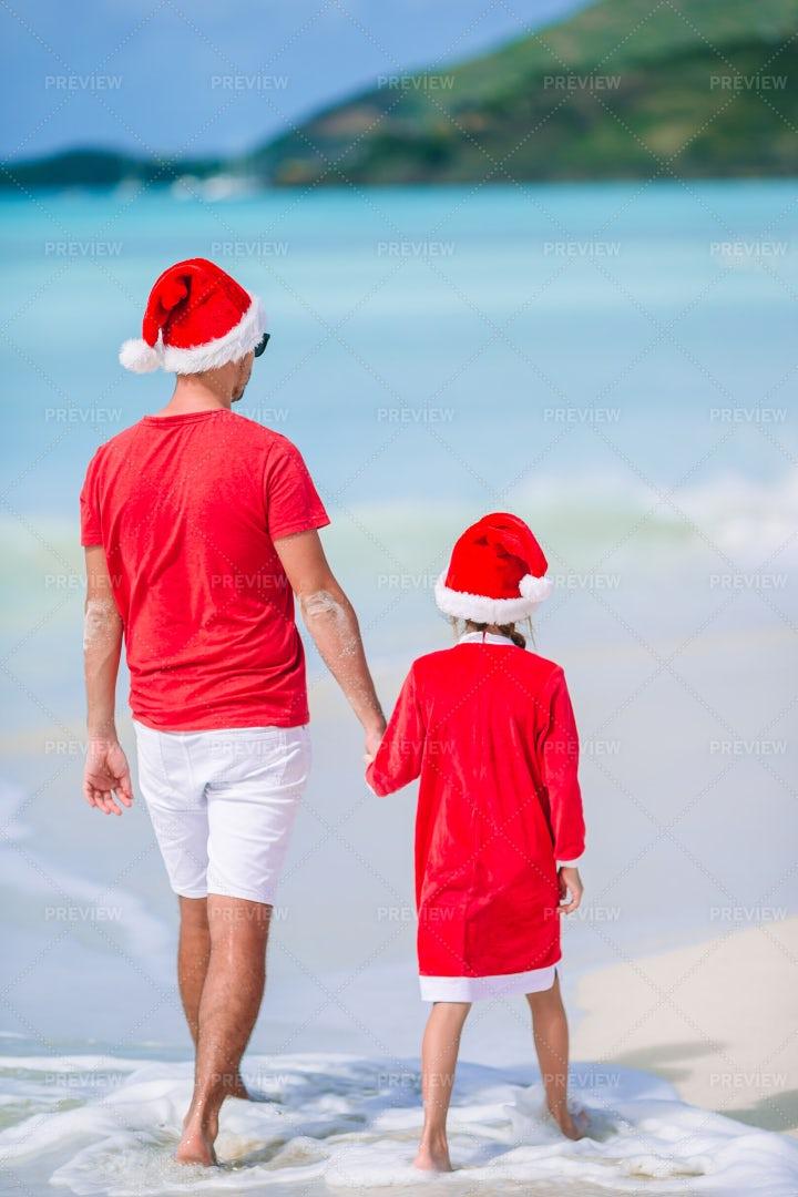 Santa's Helpers On A Beach: Stock Photos
