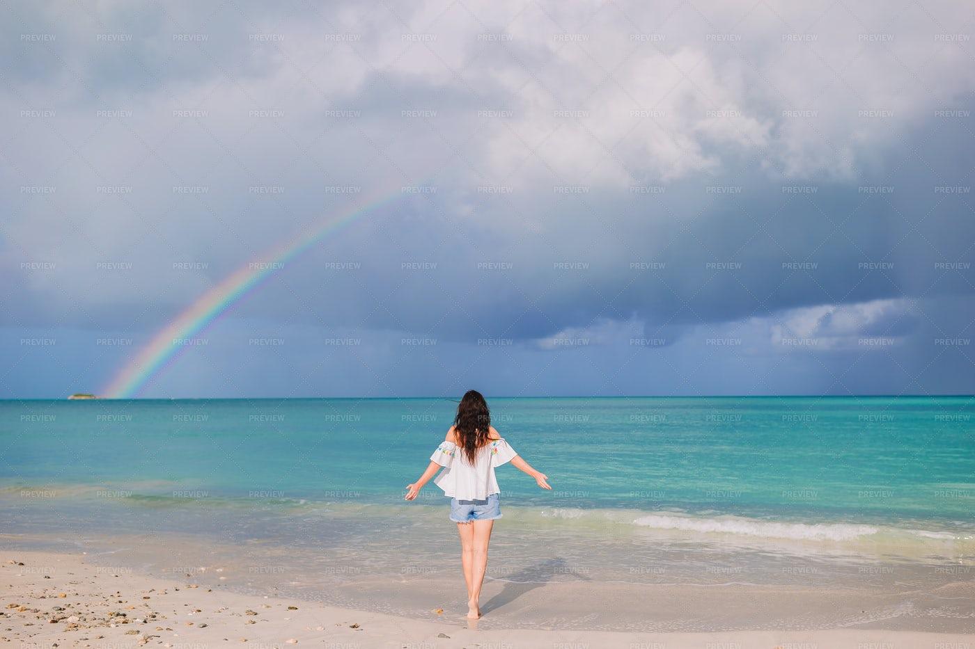 Rainbow On Tropical Beach: Stock Photos