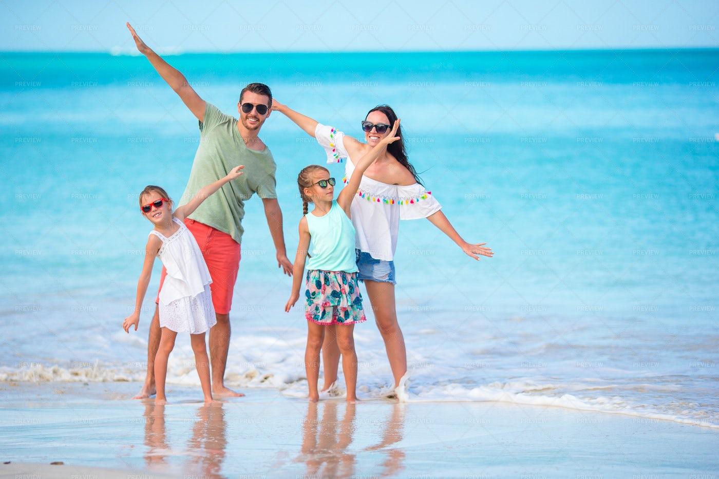 Family Enjoying Beach Vacation: Stock Photos