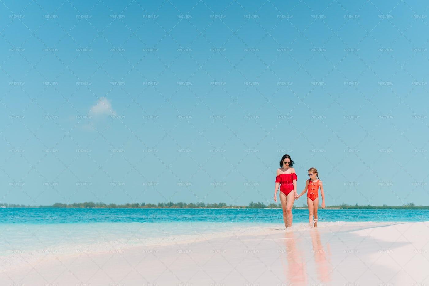 Walking Down Tropical Shore: Stock Photos