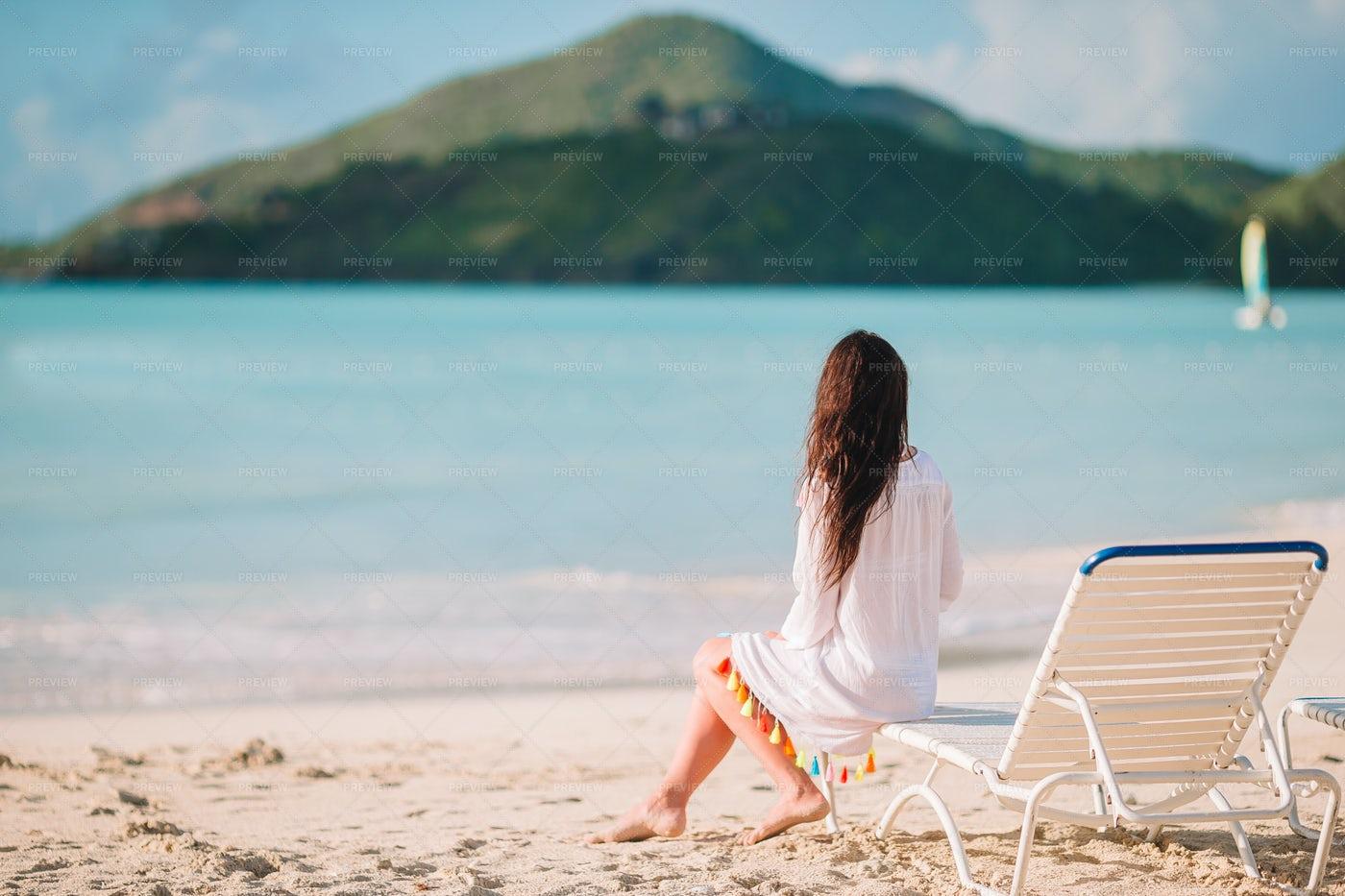 Woman Sitting On Beach Chair: Stock Photos