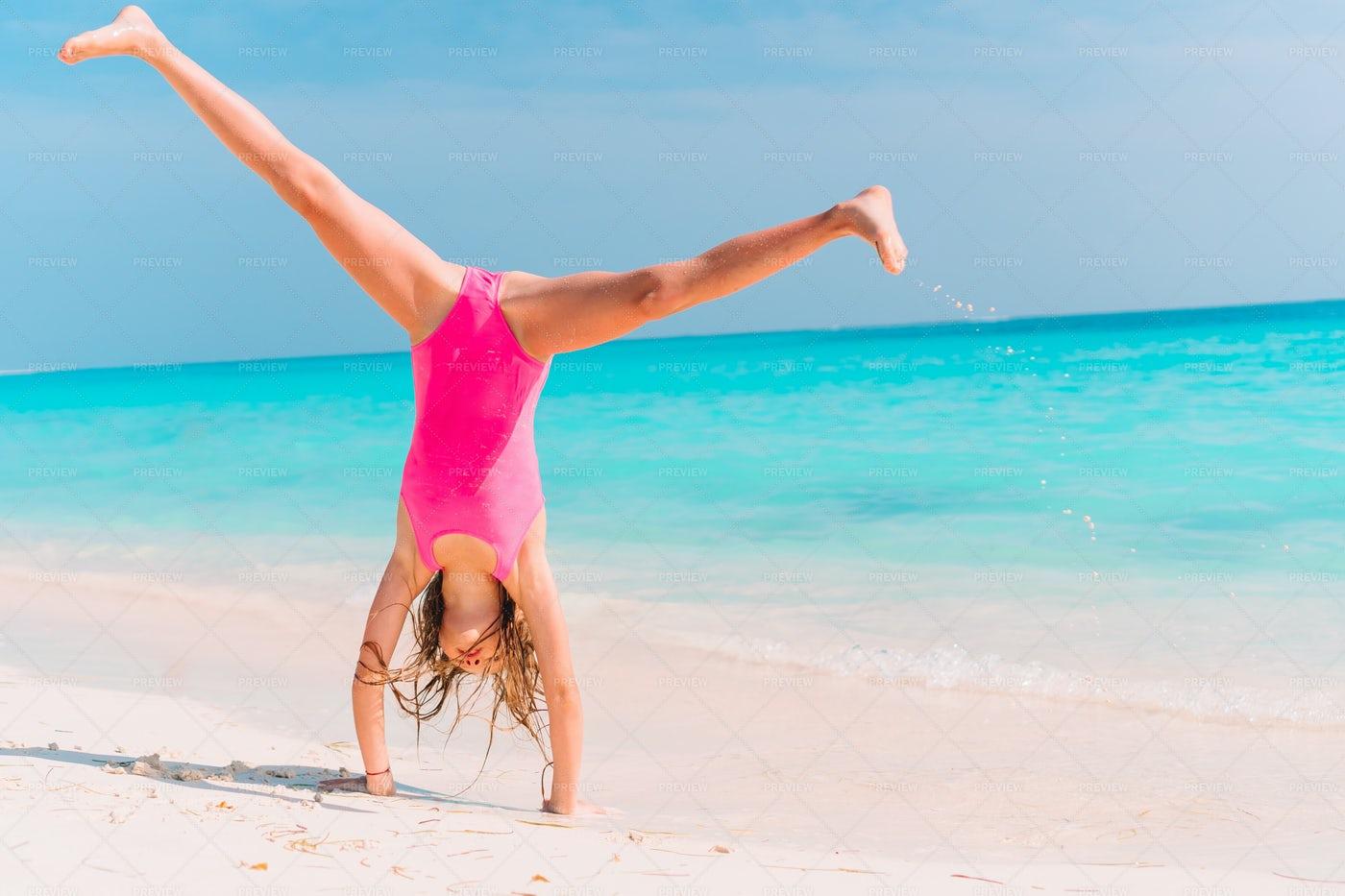 Cartwheel On The Beach: Stock Photos