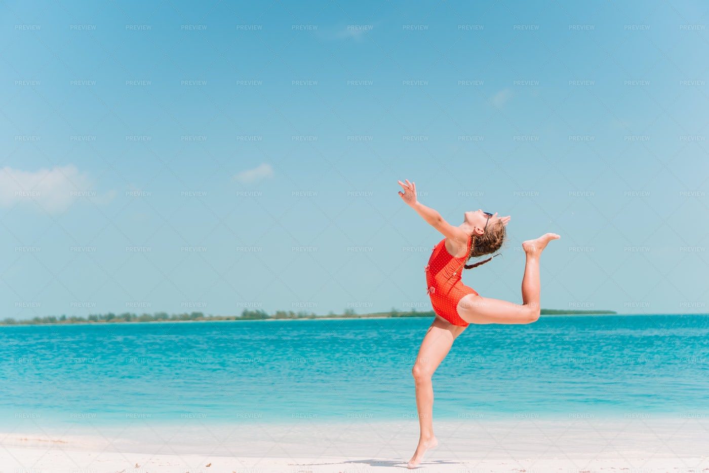 Leaping On Beach: Stock Photos