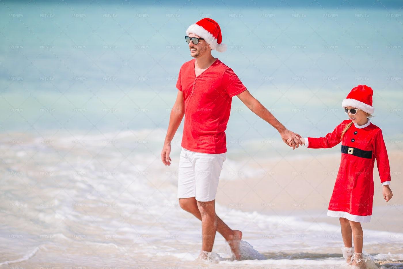 Family Christmas Vacation On Beach: Stock Photos