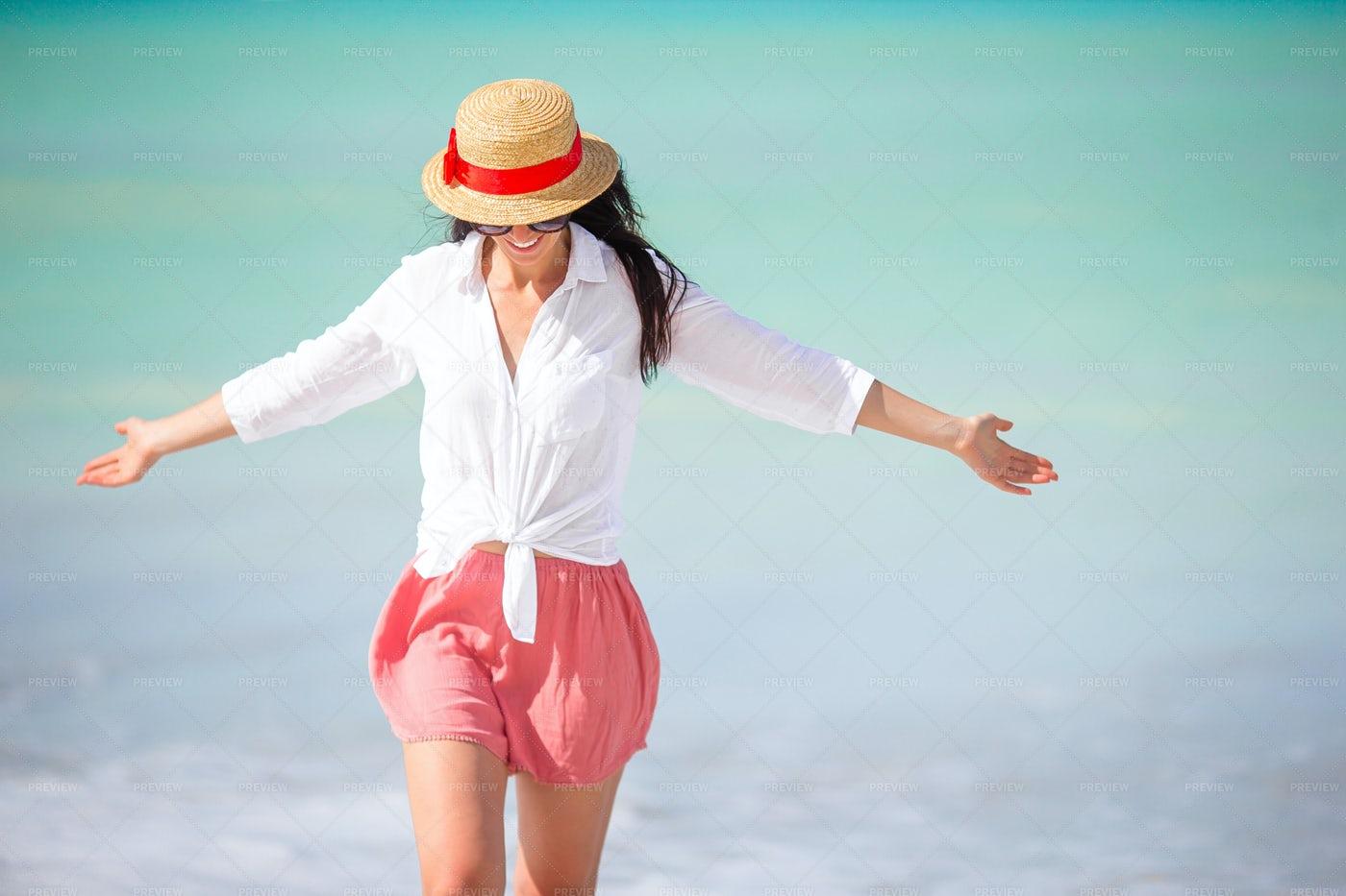 Feeling Happy On The Beach: Stock Photos