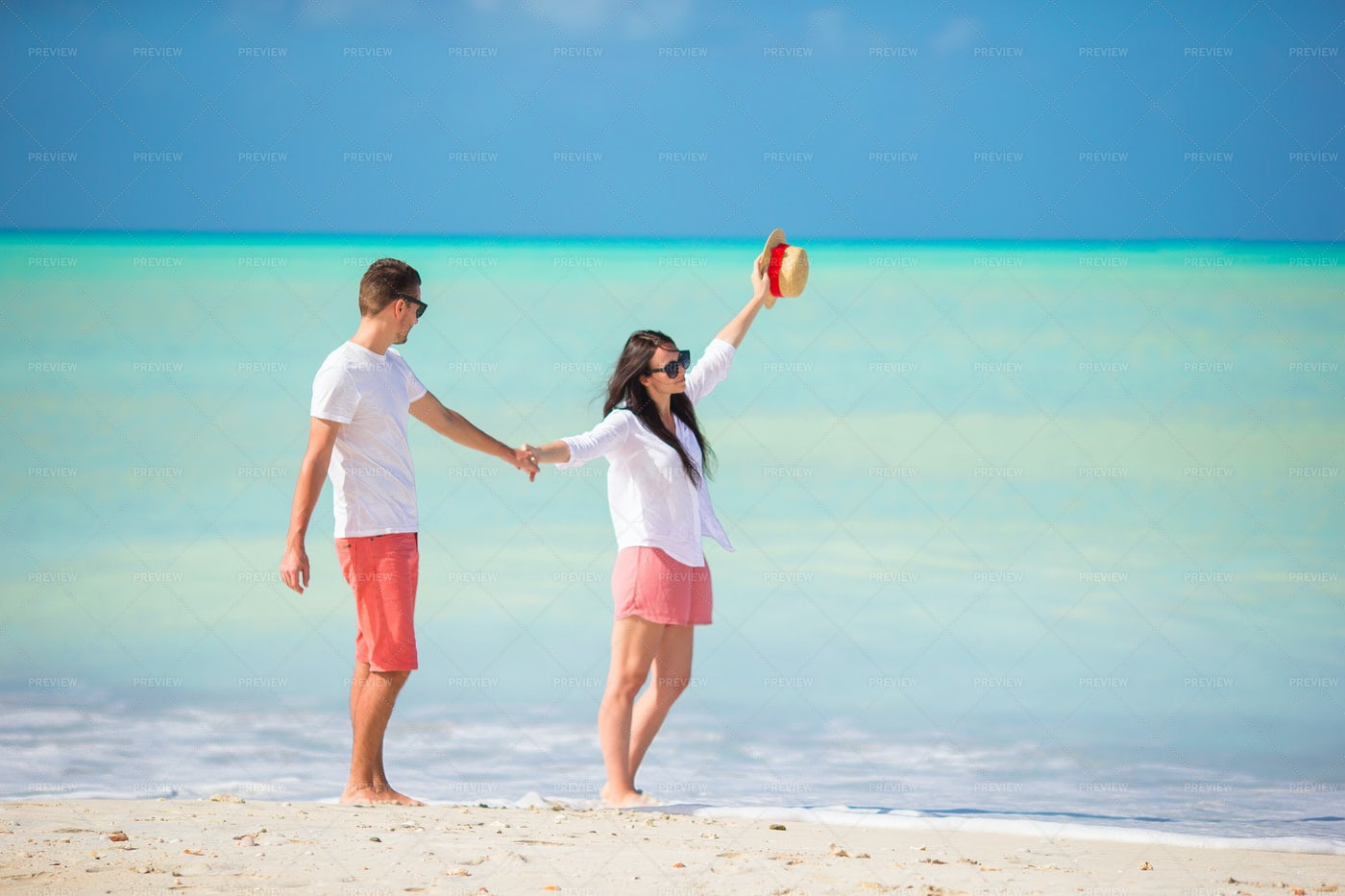 Walking On Tropical Beach: Stock Photos