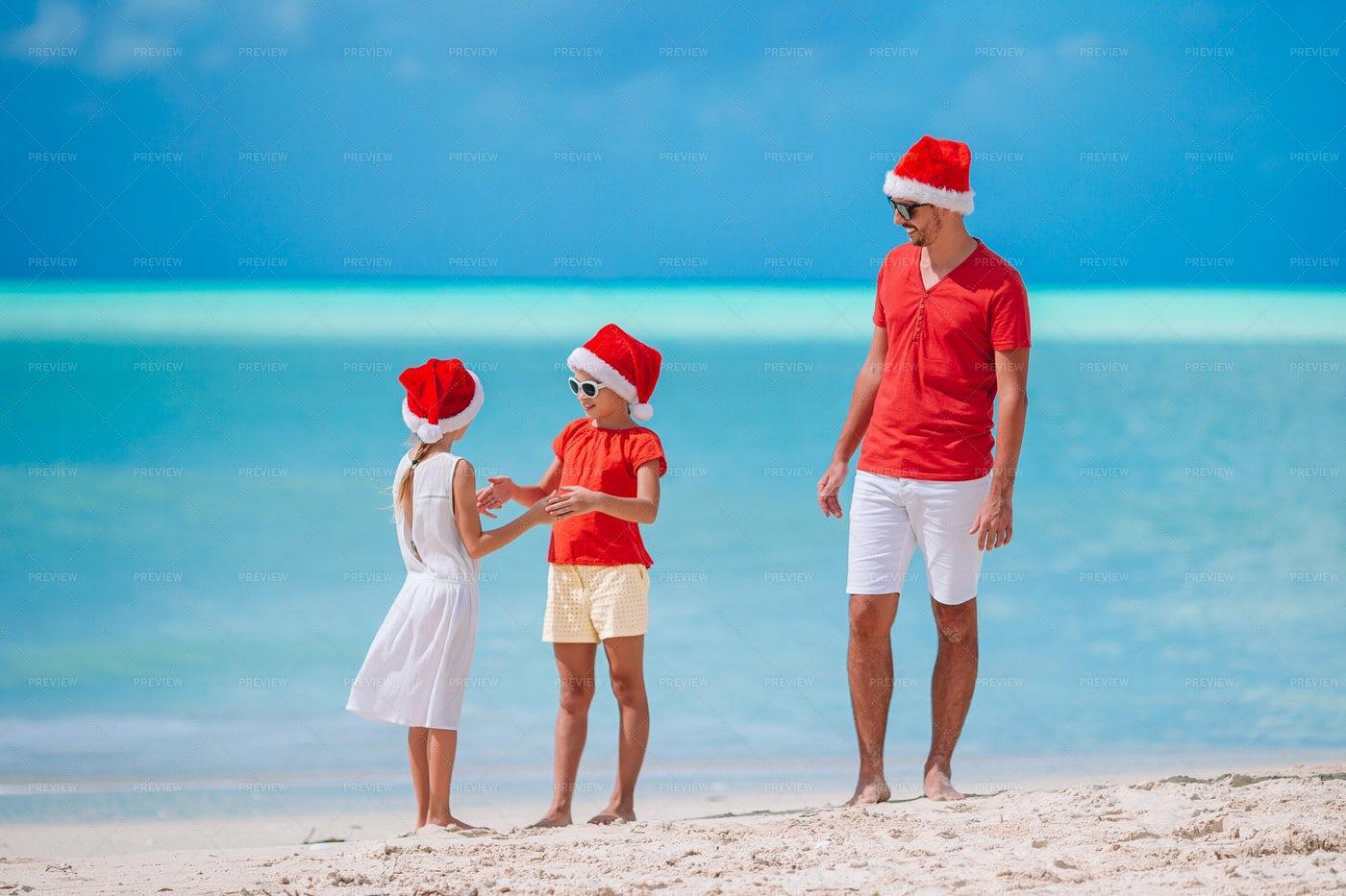Celebrating Christmas By The Beach: Stock Photos