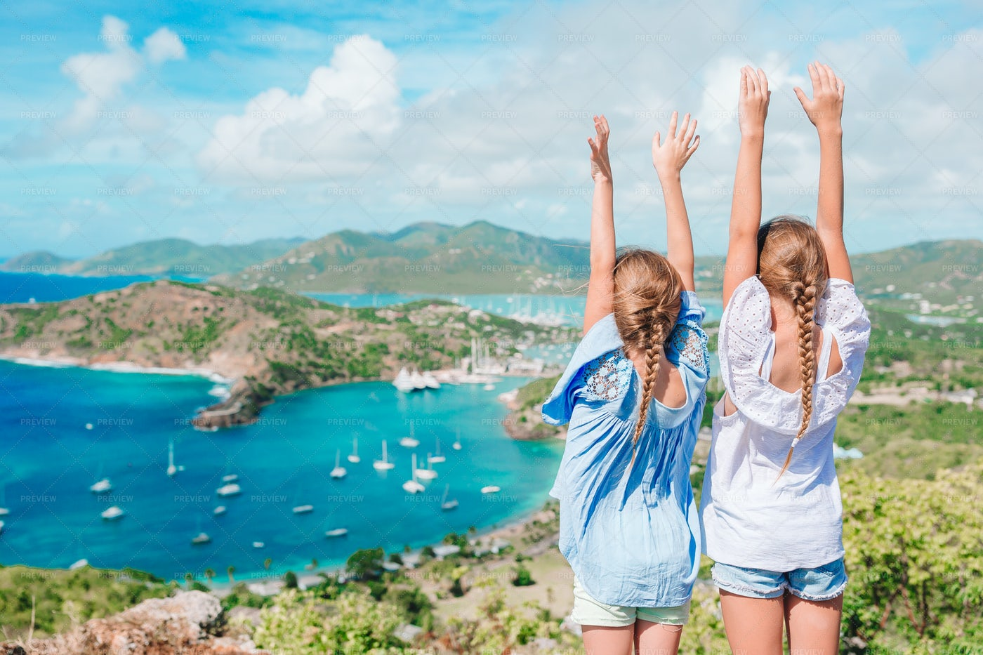Sisters Enjoy View Of English Harbour: Stock Photos