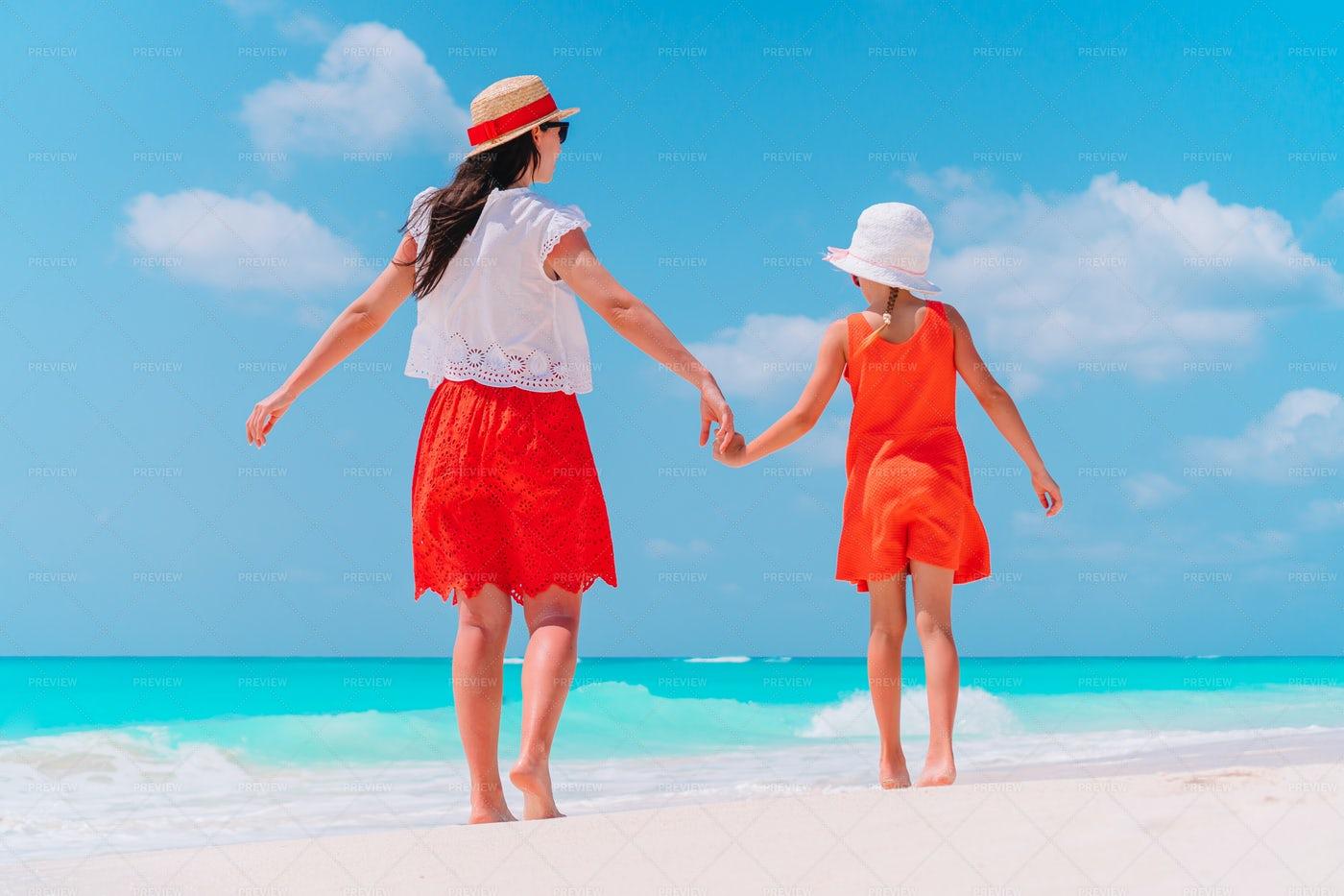 Family On Windy Beach: Stock Photos