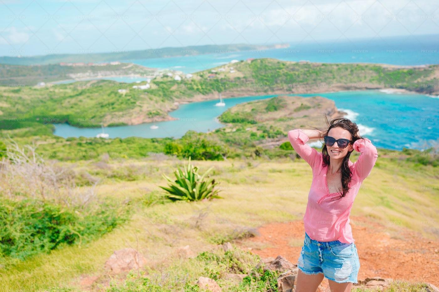 Woman On Caribbean Landscape: Stock Photos