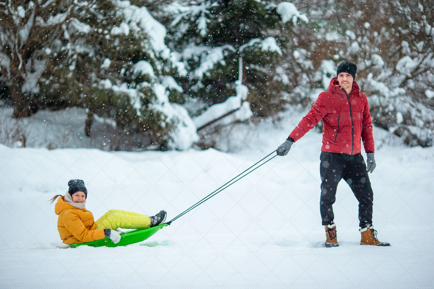 Dad Pulling Girl On Sled: Stock Photos
