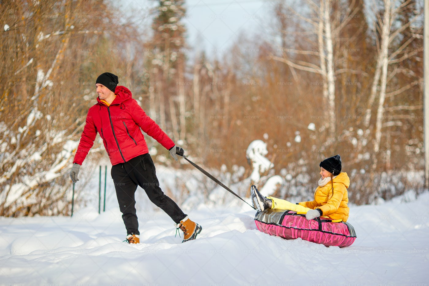Dad Pulling His Kid On Sled: Stock Photos