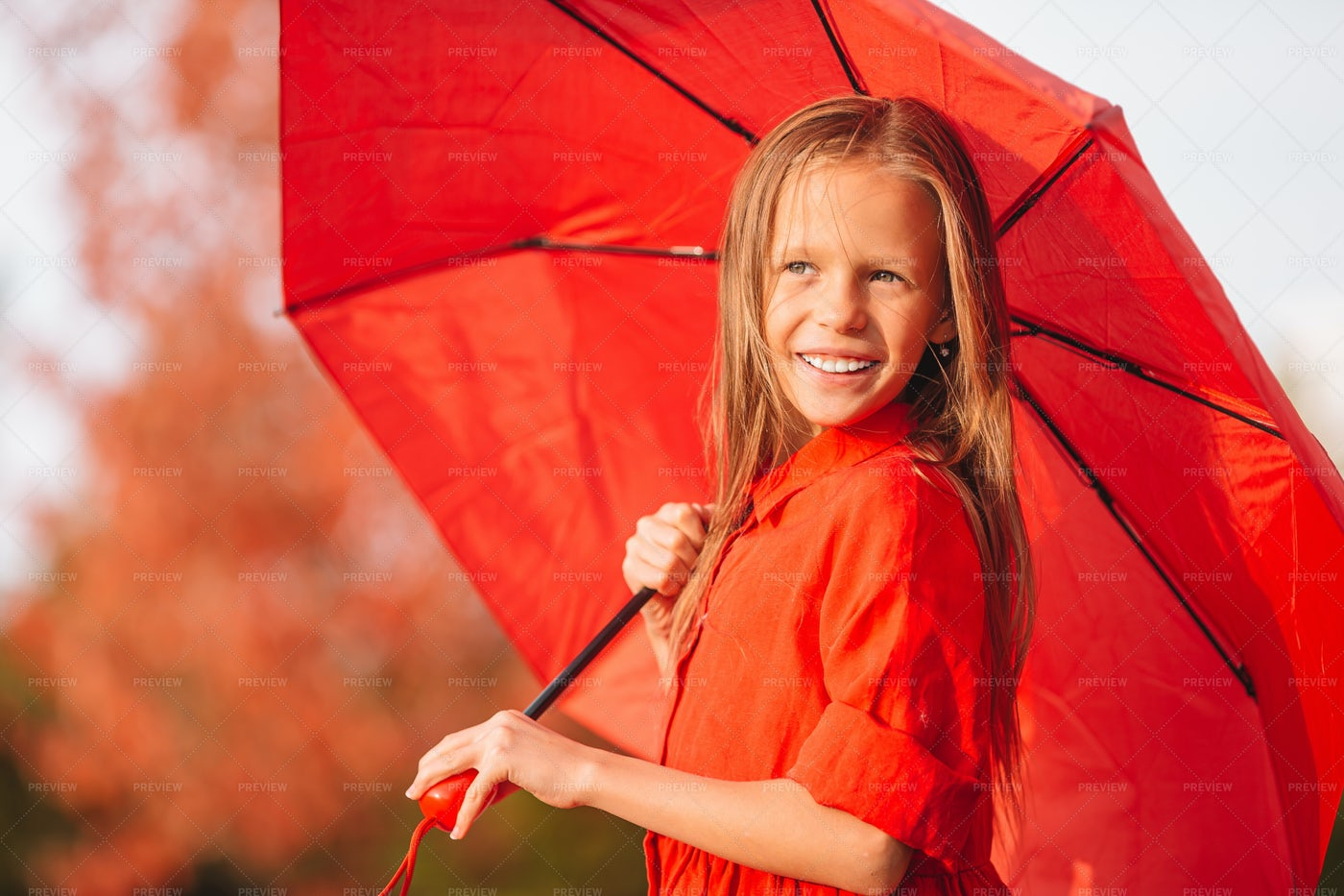 Red Umbrella On Shoulder: Stock Photos