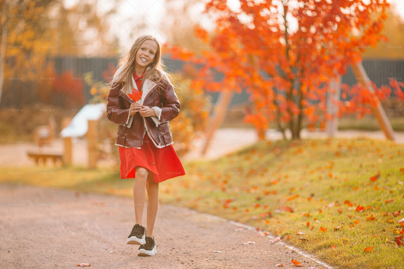 Skipping Through Autumn Park: Stock Photos