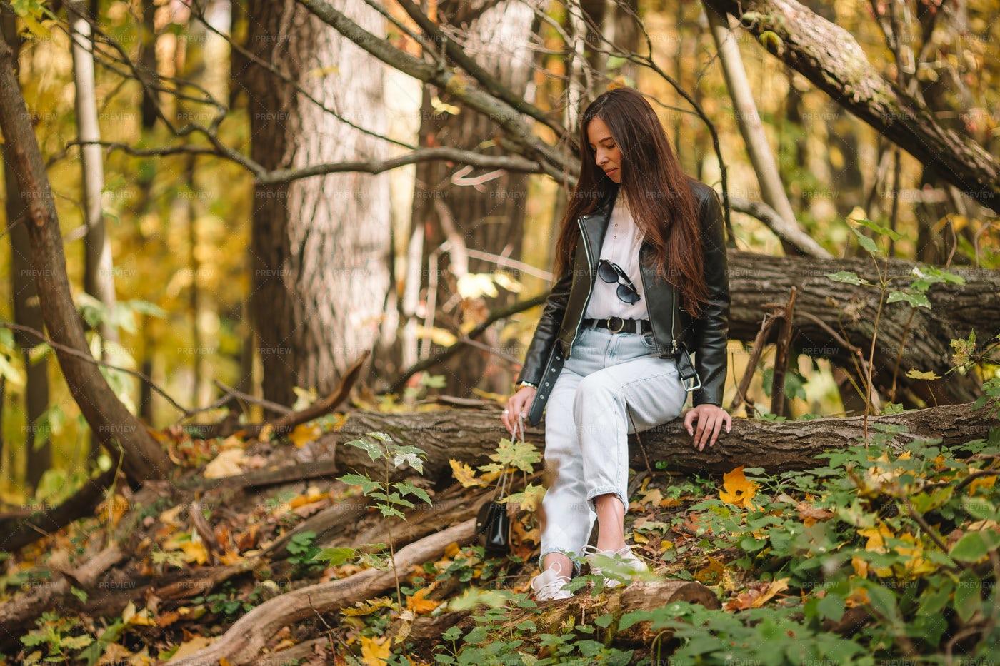 Sitting On Fallen Tree: Stock Photos