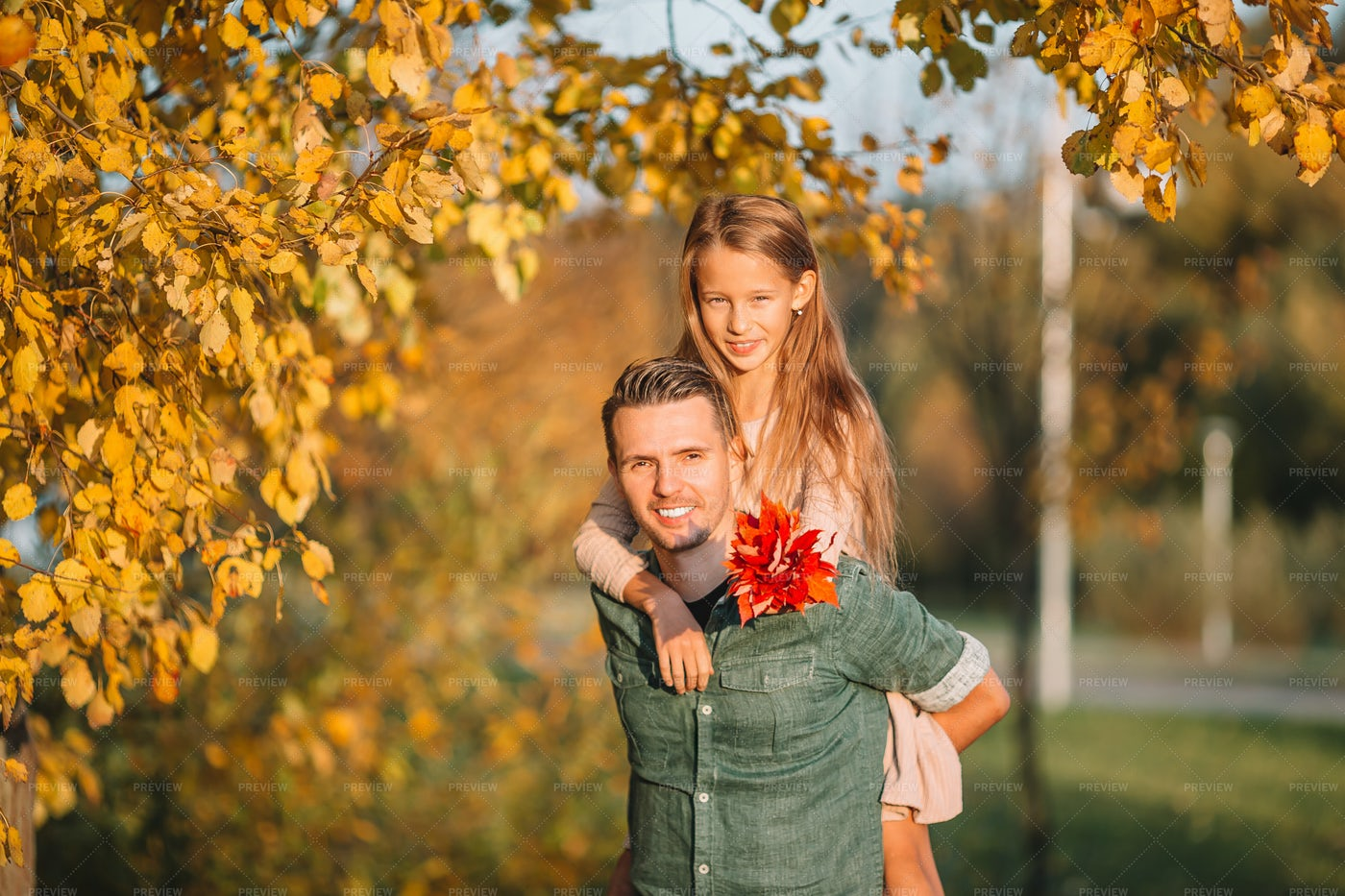 Father And Daughter In Autumn: Stock Photos