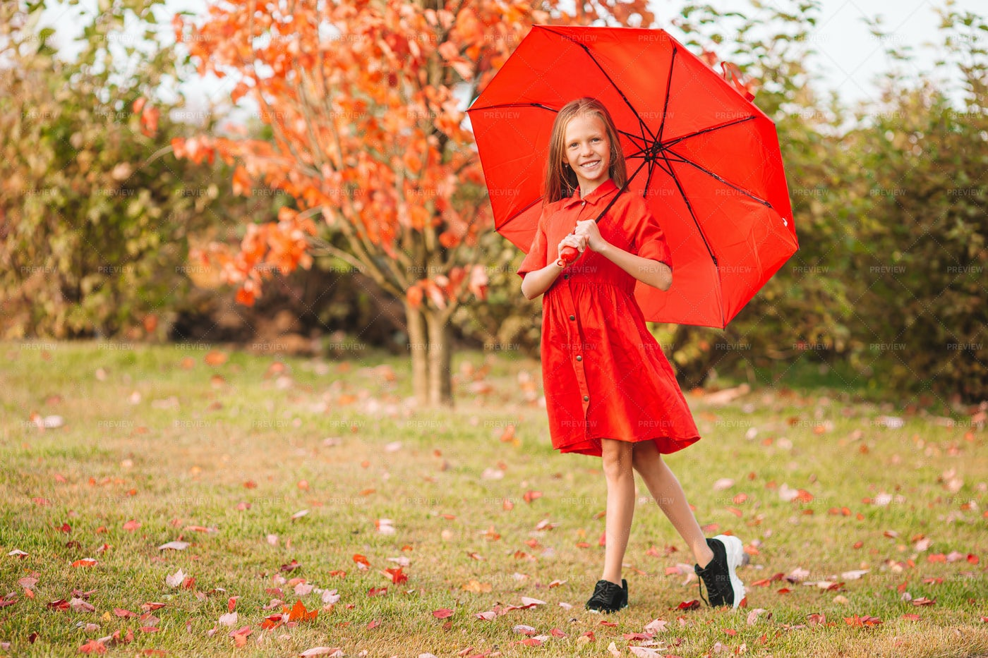 Girl With Red Umbrella: Stock Photos