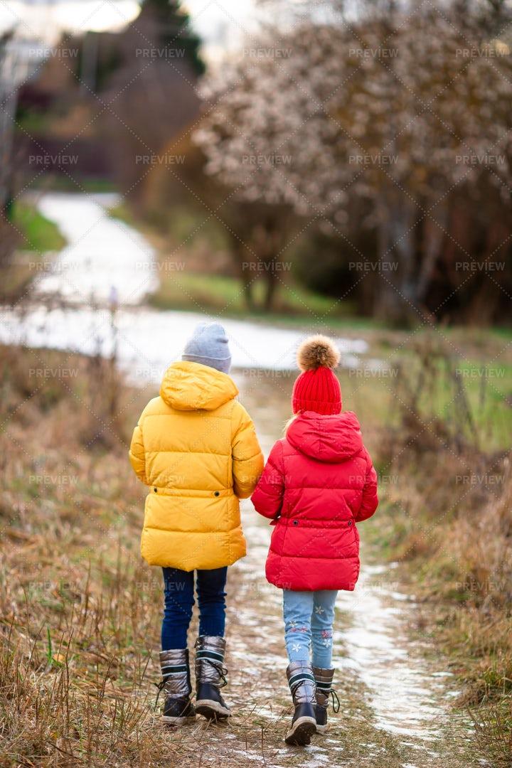 Friends Walk Through Snowy Woods: Stock Photos