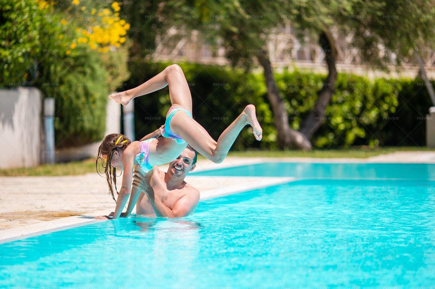 Flip Into The Pool: Stock Photos