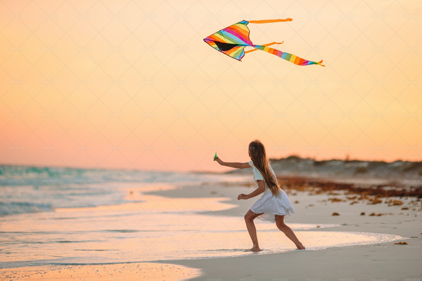Flying Rainbow Kite On Beach: Stock Photos