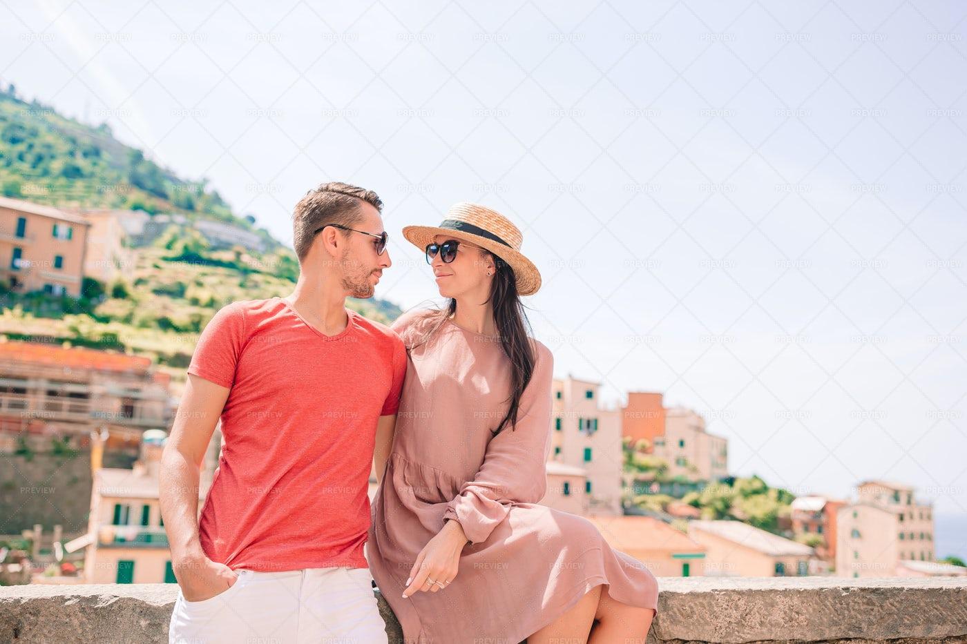 Tourists Couple At Riomaggiore: Stock Photos