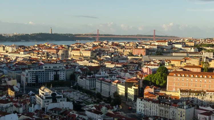 4K Lisbon Morning Timelapse: Stock Video