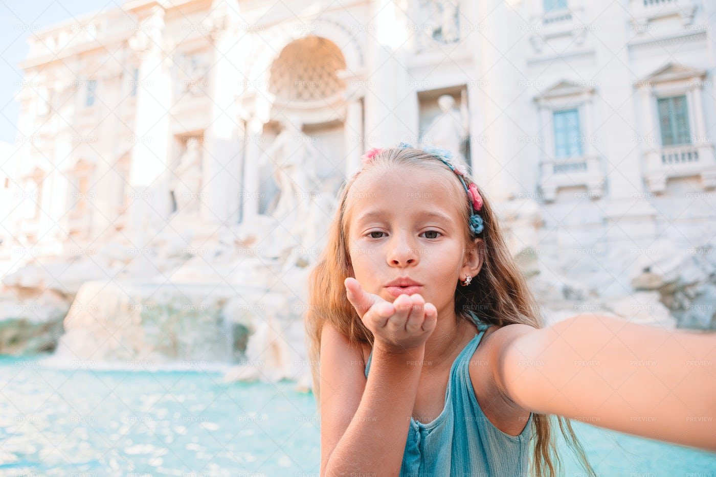 Blowing Kiss At The Fountain: Stock Photos