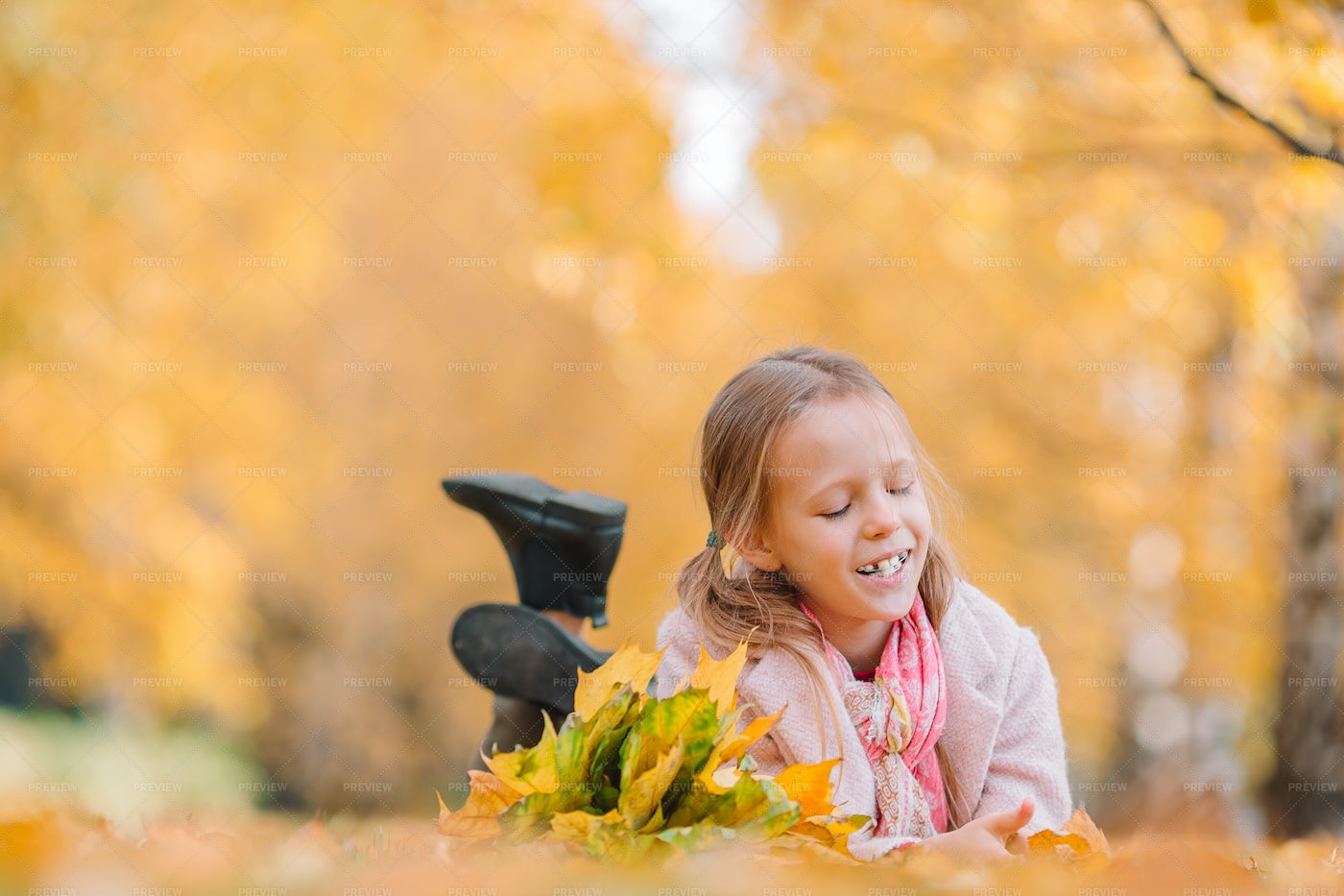 Playing With Leaves In Autumn: Stock Photos