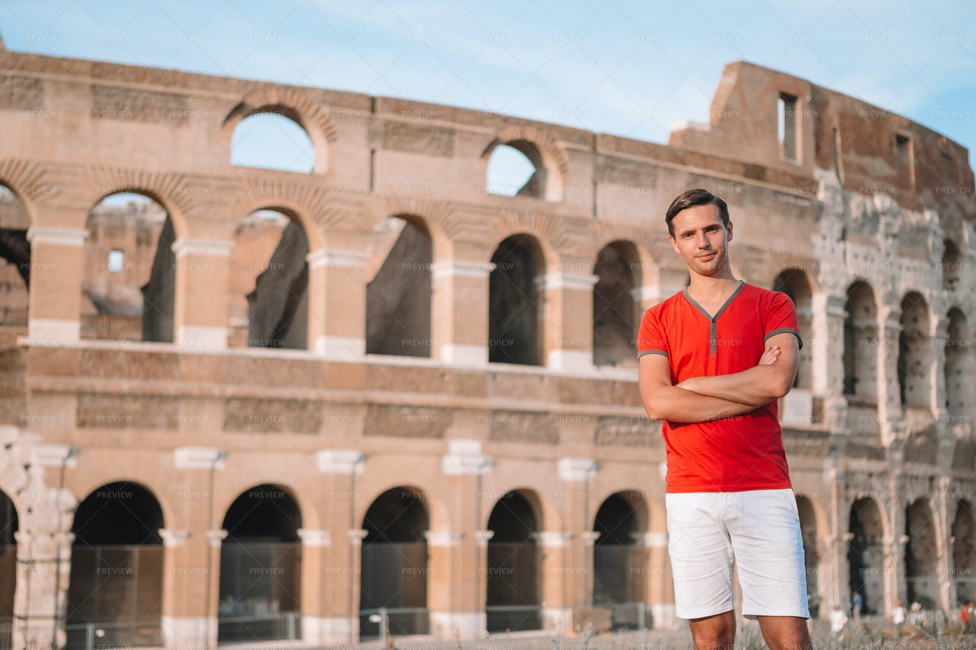 Man In The Coliseum, Rome: Stock Photos