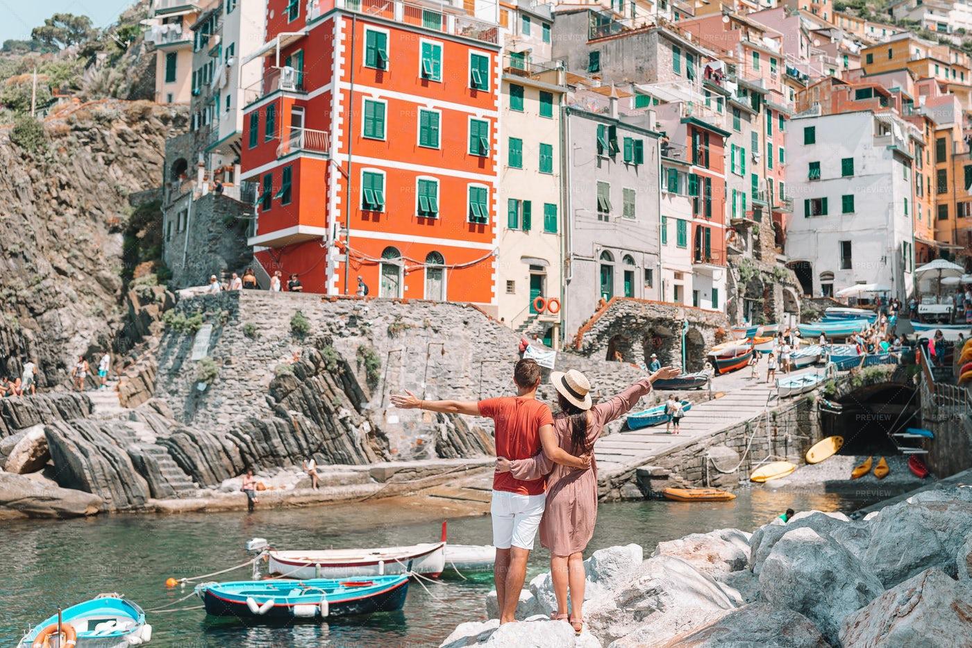 Tourists In Riomaggiore: Stock Photos
