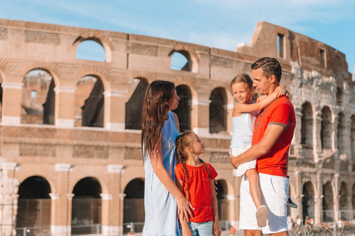 Parents And Kids In Rome: Stock Photos