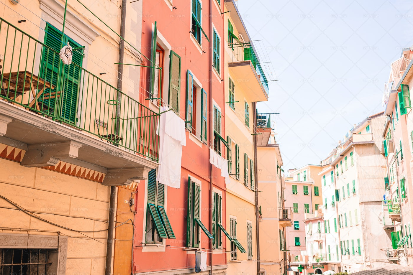Houses In The Small Town Of Liguria: Stock Photos
