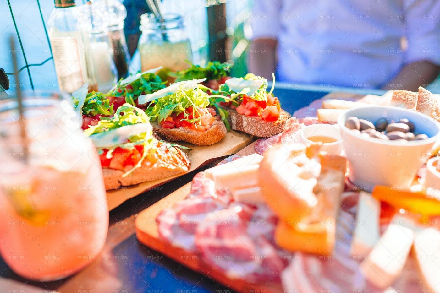 Italian Meal With Fresh Bruschetta: Stock Photos