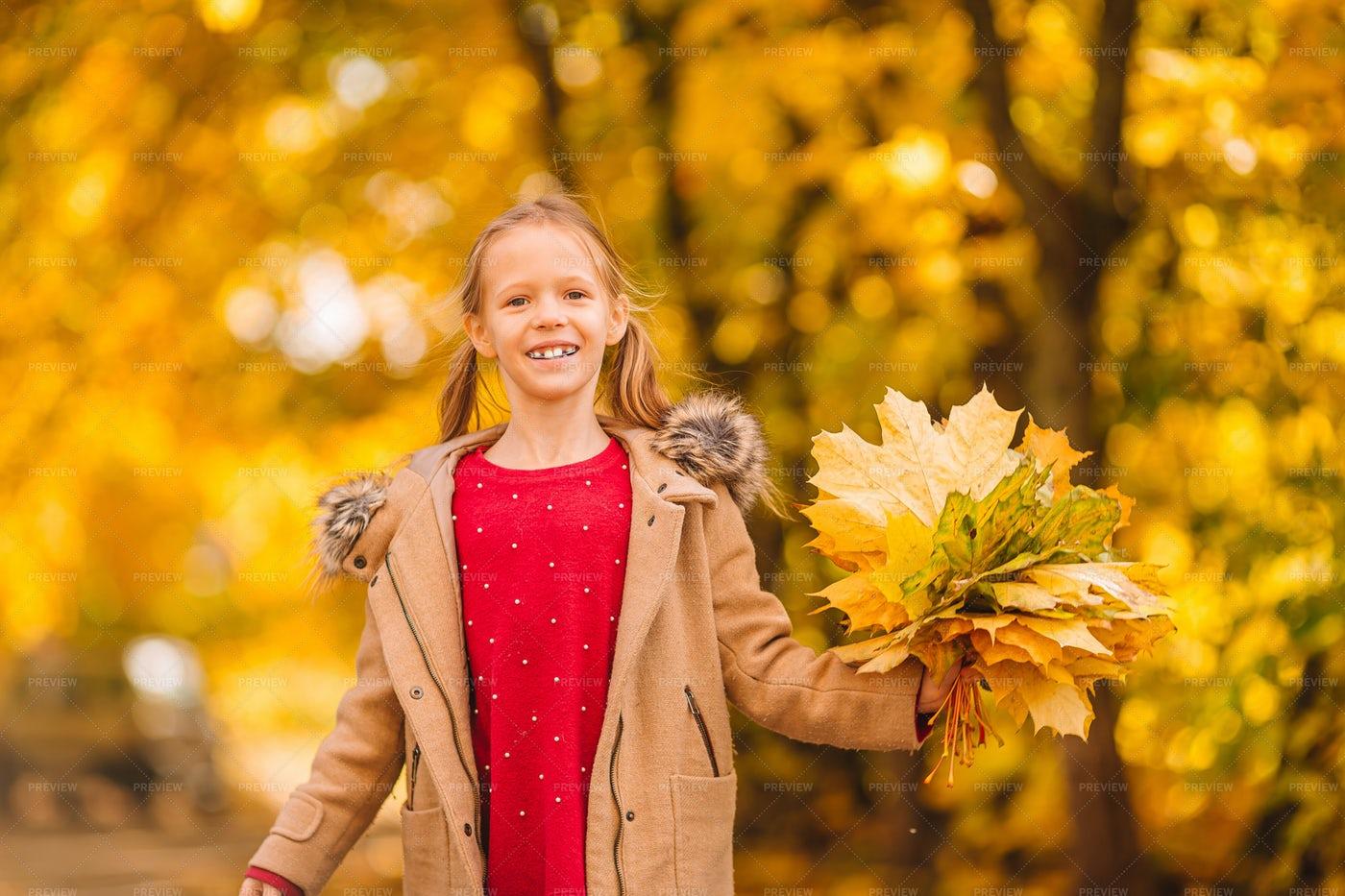 Girl With Enjoying Fall: Stock Photos