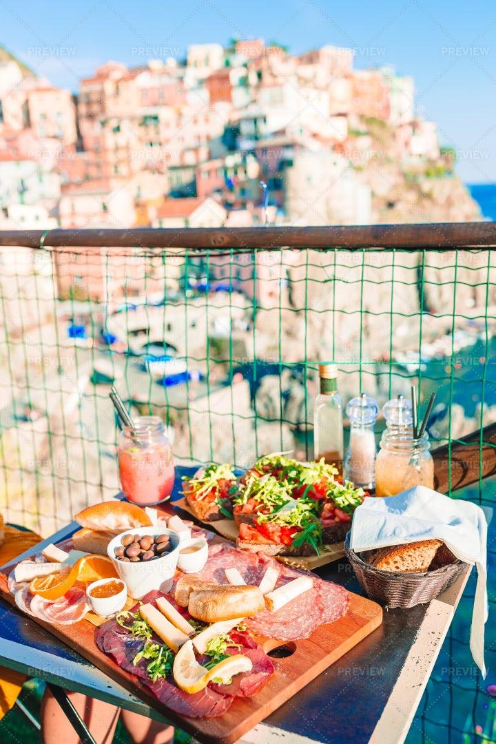 Fresh Bruschettes And Cinque Terre: Stock Photos