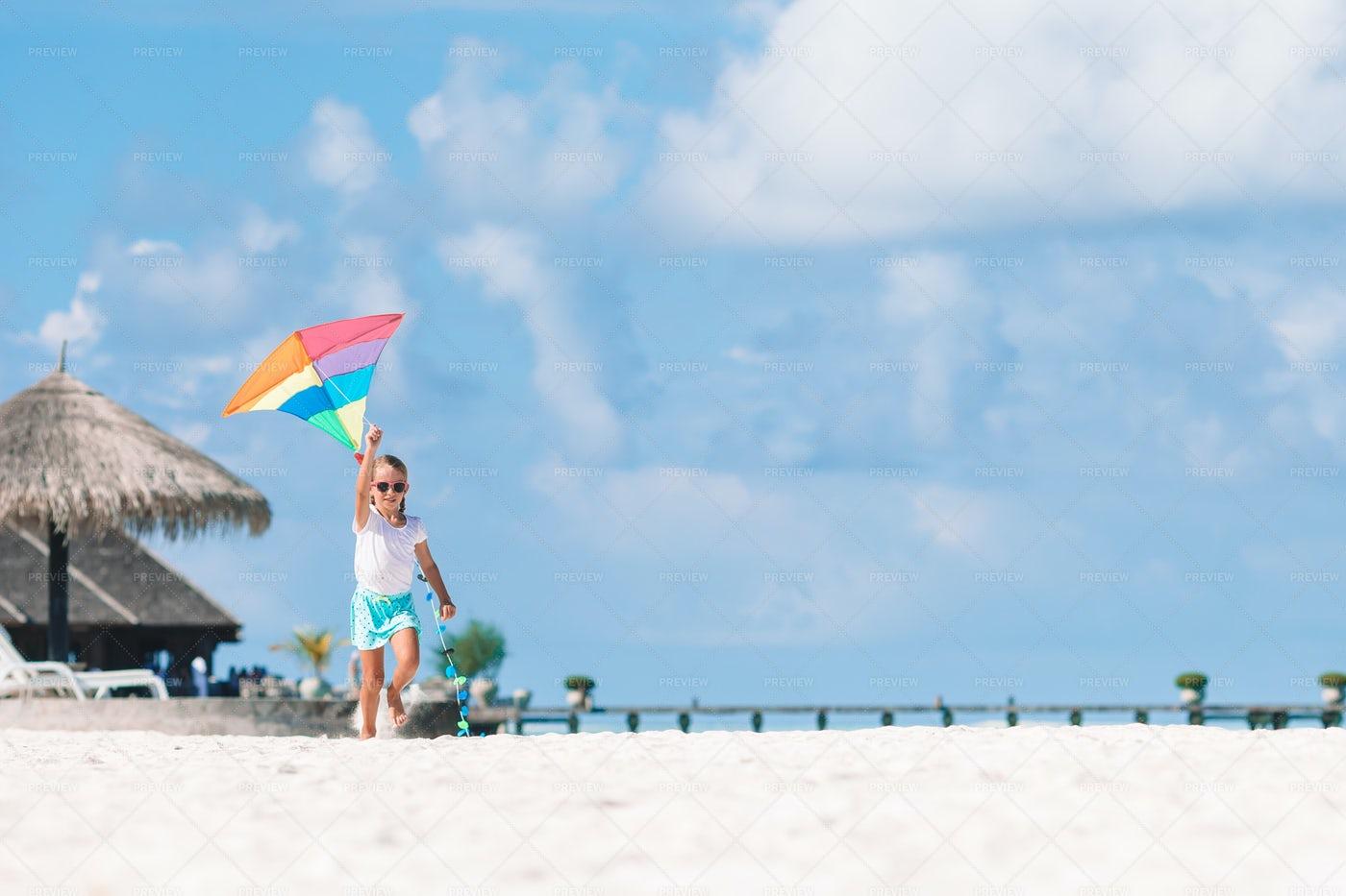 Flying A Kite On The Beach: Stock Photos