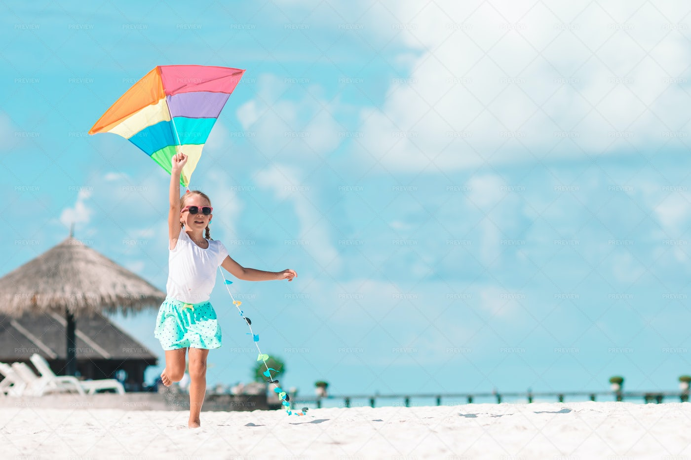 Running With Kite On Beach: Stock Photos