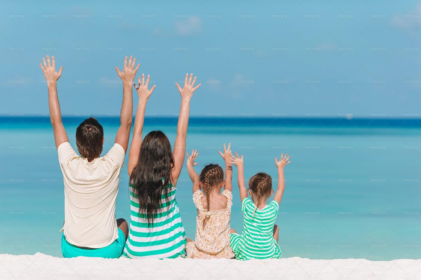 Family Celebrates Their Vacation: Stock Photos
