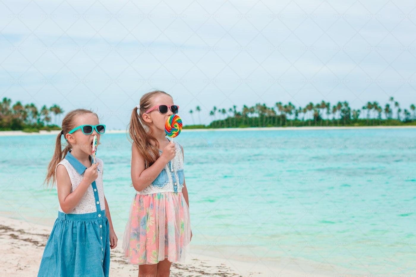 Lollipops At The Beach: Stock Photos