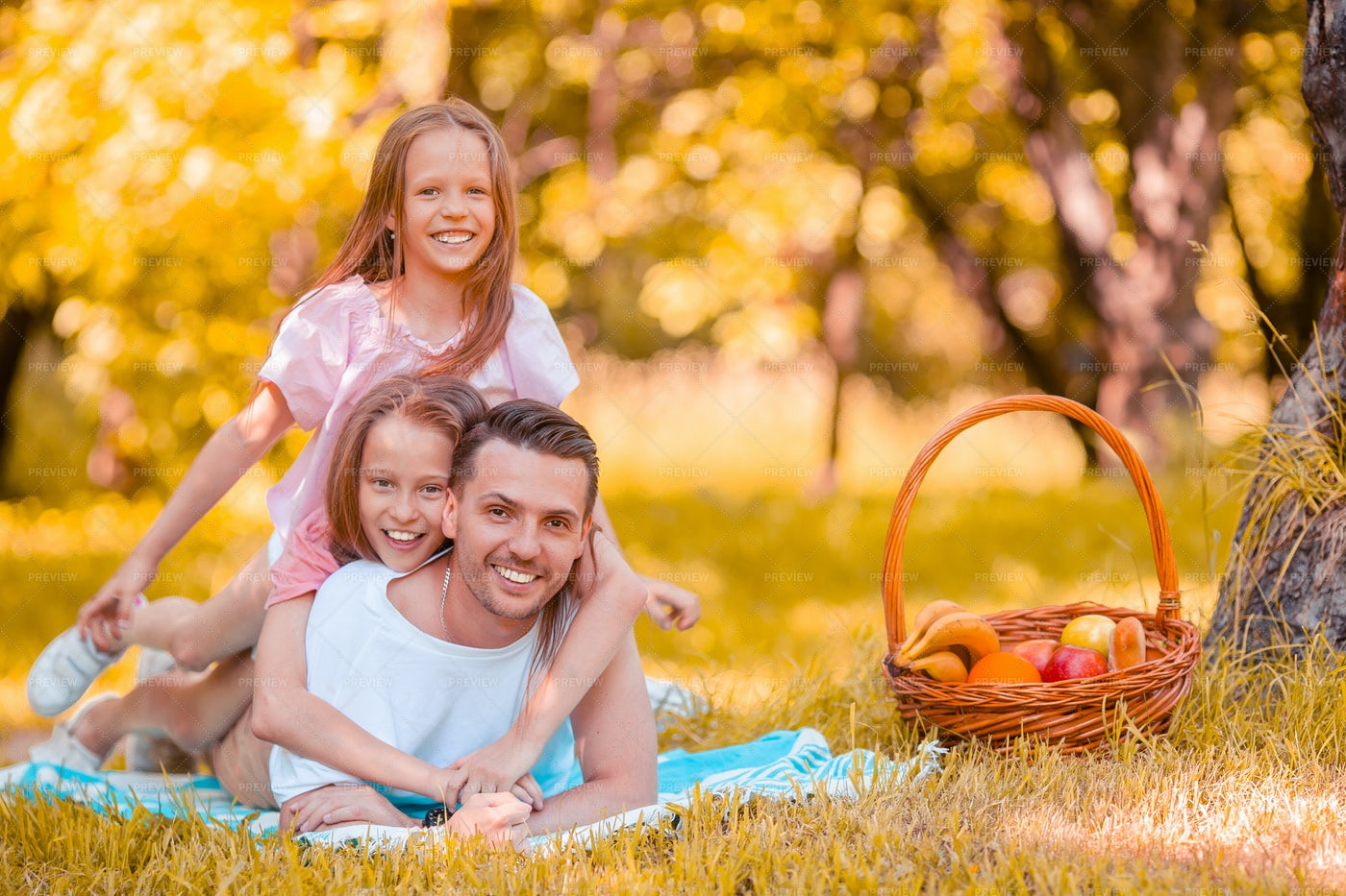 Father And Daughter In A Picnic: Stock Photos