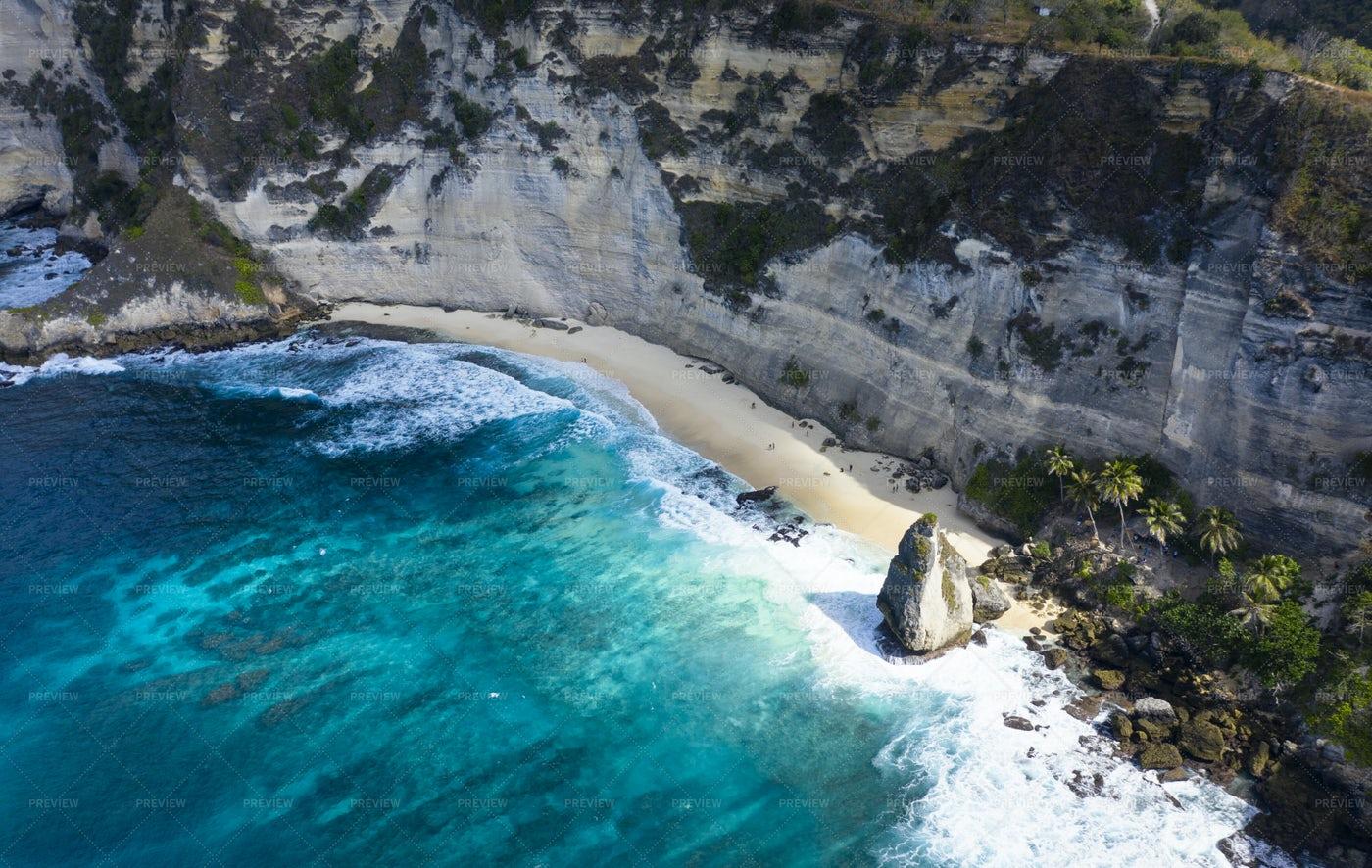 Drone Shot of Diamond Beach Thousand Isl: Stock Photos